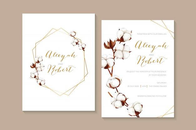 Invitation de mariage aquarelle rustique avec des fleurs de coton séchées