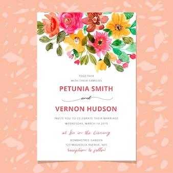 Invitation de mariage avec aquarelle en-tête floral