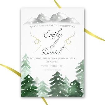 Invitation de mariage aquarelle sur le thème de l'hiver