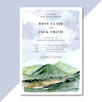 Invitation de mariage avec aquarelle vue montagne