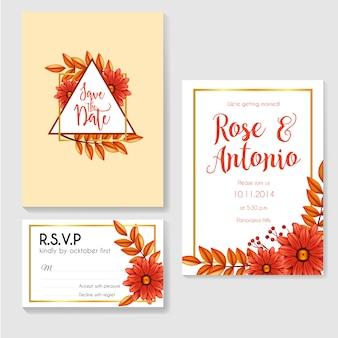 Invitation mariage automne avec cadre en or