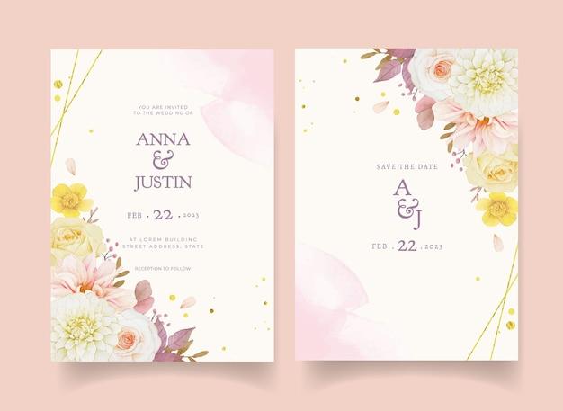 Invitation de mariage d'automne de dahlia aquarelle et de roses
