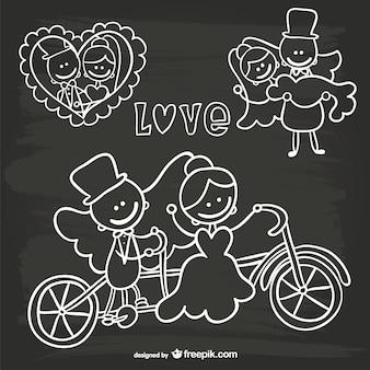 Invitation de mariage de bande dessinée doodle noir