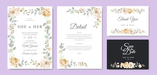 Invitation de mariage beau cadre floral