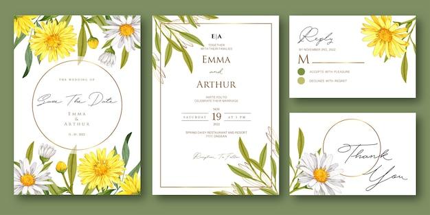 Invitation de mariage avec un beau modèle aquarelle floral