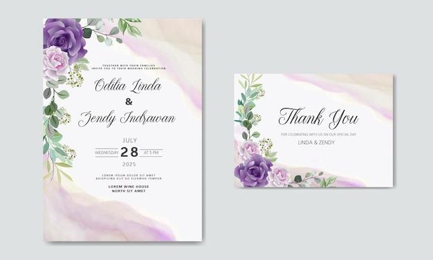 Invitation de mariage avec de beaux thèmes floraux