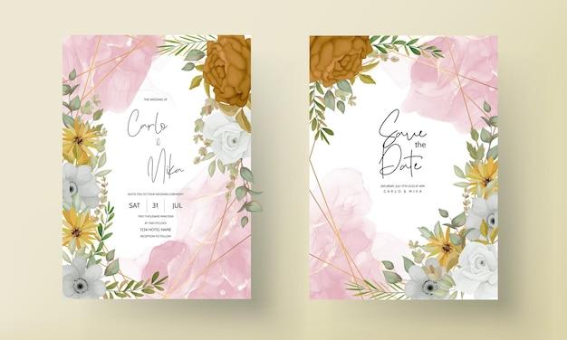 Invitation de mariage avec une belle fleur d'automne