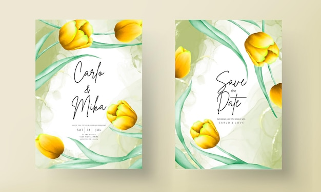 Invitation de mariage avec une belle fleur de tulipe aquarelle jaune