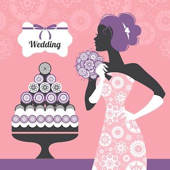 Invitation de mariage. belle silhouette de mariée
