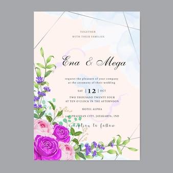 Invitation de mariage avec de belles feuilles de fleurs