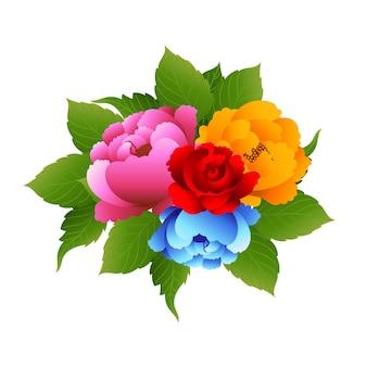 Invitation de mariage avec de belles fleurs colorées