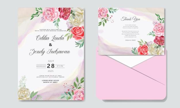 Invitation de mariage avec de belles fleurs romantiques