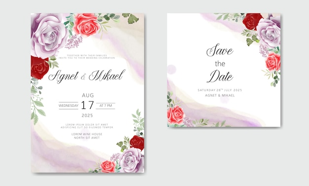 Invitation de mariage avec de belles fleurs