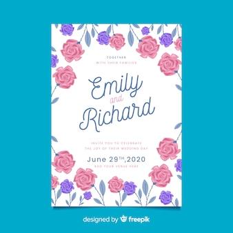 Invitation de mariage blanche avec cadre floral