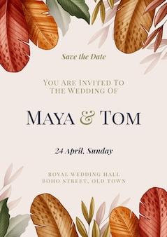 Invitation de mariage bohème dessiné à la main