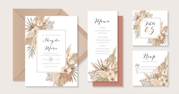 Invitation de mariage boho de luxe beige et terre cuite avec feuilles de pampa séchées, lis calla et orchidée