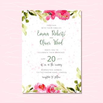 Invitation de mariage avec bordure aquarelle florale rose