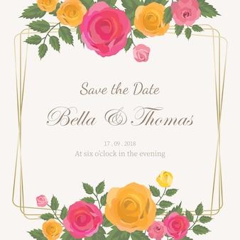 Invitation de mariage de bouquet de roses roses et jaunes