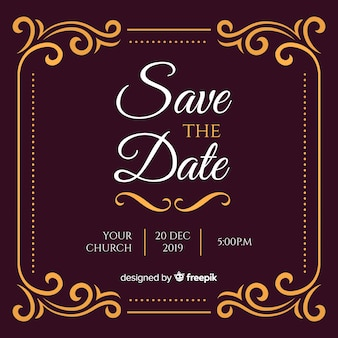 Invitation de mariage bourguignon avec ornements dorés