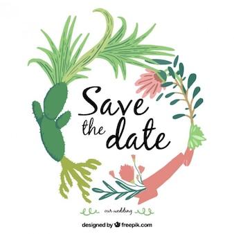 Invitation de mariage cactus