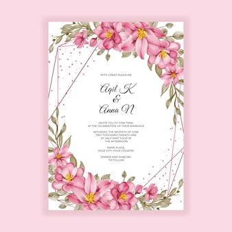 Invitation de mariage de cadre aquarelle rose fleur or géométrique