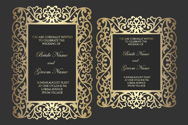 Invitation de mariage de cadre découpé au laser ornemental.