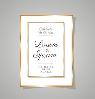 Invitation de mariage avec cadre doré