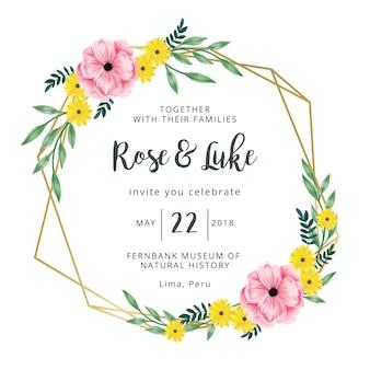Invitation de mariage cadre doré