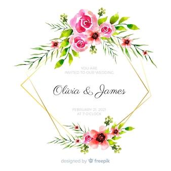 Invitation de mariage de cadre floral aquarelle coloré