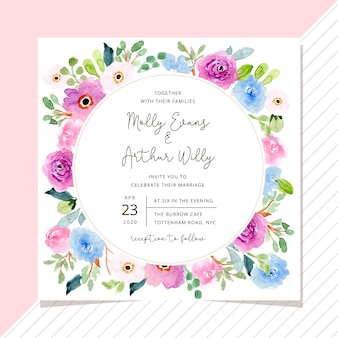 Invitation de mariage avec cadre floral aquarelle douce