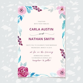 Invitation de mariage avec cadre floral aquarelle hiver