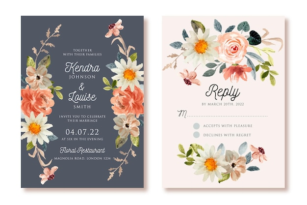 Invitation de mariage avec cadre floral aquarelle