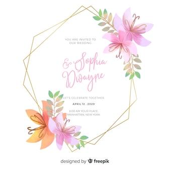 Invitation de mariage de cadre floral aquarelle