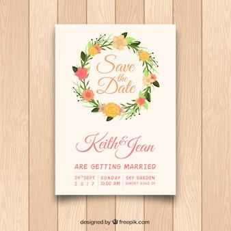 Invitation de mariage avec cadre floral circulaire