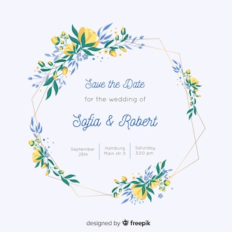 Invitation de mariage de cadre floral coloré au design plat