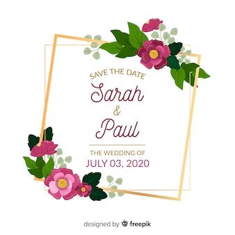 Invitation de mariage cadre floral coloré