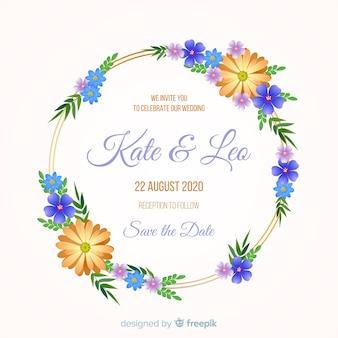 Invitation de mariage avec cadre floral doré