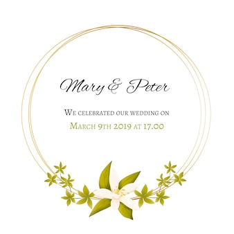Invitation de mariage avec cadre floral et doré