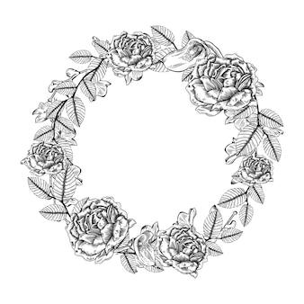 Invitation de mariage cadre floral avec des fleurs dessinées à la main