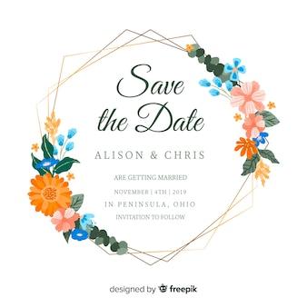 Invitation de mariage de cadre floral peint