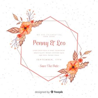 Invitation de mariage avec cadre floral