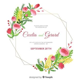 Invitation de mariage cadre floral