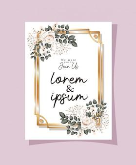 Invitation de mariage avec cadre en or rose fleurs et feuilles