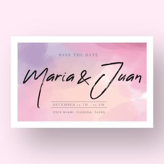 Invitation de mariage calligraphique avec des taches d'aquarelle
