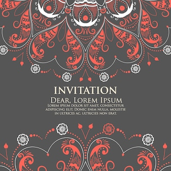 Invitation de mariage et carte d'annonce avec dentelle ornementale ronde avec des éléments arabesques. mehndi style. orienter l'ornement traditionnel. ornement floral de couleur ronde zentangle.