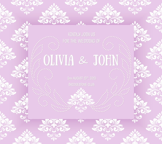 Invitation de mariage et carte d'annonce avec des illustrations vintage