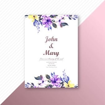 Invitation de mariage avec carte de modèle de fleurs colorées