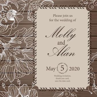 Invitation de mariage, carte de remerciement, réservez les cartes de date.