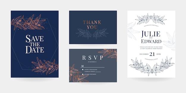 Invitation de mariage, carte de réponse, modèle de carte de remerciement