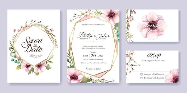 Invitation de mariage, carte rsvp. style aquarelle vecteur.
